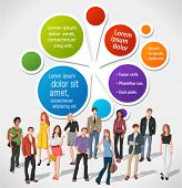 Colorful template for advertising brochure with fashion cartoon young people