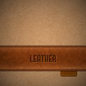 Brown leather stripe on beige leather background - eps10