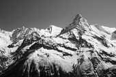 stock photo of monochromatic  - The white tops of the mountains in summer black and white and grayscale images - JPG