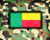 stock photo of ami  - Amy camouflage uniform with flag on it Benin - JPG