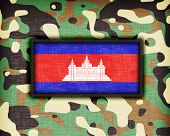 stock photo of ami  - Amy camouflage uniform with flag on it Cambodia - JPG