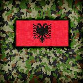 picture of ami  - Amy camouflage uniform with flag on it Albania - JPG