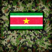 stock photo of ami  - Amy camouflage uniform with flag on it Suriname - JPG
