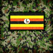 stock photo of ami  - Amy camouflage uniform with flag on it Uganda - JPG