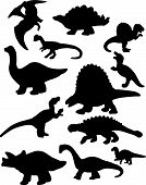 stock photo of apatosaurus  - This is a vector illustration of a dozen dinosaur silhouettes - JPG
