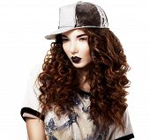 Glamour. Classy Red Hair Fashion Model In Futuristic Cap. Bright Makeup