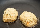 Fresh Crab Cakes In Saute Pan