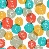 Abstract colorful retro seamless pattern (balls doodles). Raster version, vector file available in portfolio.