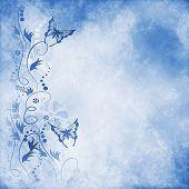 Blue vintage butterfly background