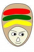 picture of rastafari  - Face of cartoon reggae style isolated on white background - JPG