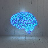 Illuminated bluelight   brain in a stylish background