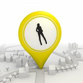 Sexy woman inside a yellow map pointer