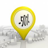50 percentage discount icon inside a yellow map pointer