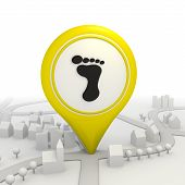 Stylish footprint icon inside a yellow map pointer