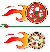 Two variants of the pizza express design/ pizza  flames project