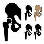 Vector human hip joint symbols