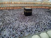 stock photo of kaaba  - Kaaba Mecca in Saudi Arabia and Muslim pilgrims coming for Hajj  - JPG