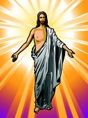 foto of risen  - Vector illustration of the Resurrected Jesus Christ - JPG