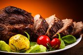 Roasted meat and vegetables