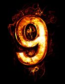 nine, illustration of  number with chrome effects and red fire on black background