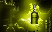 pic of greased  - Digital illustration of air grease pump in colour background - JPG