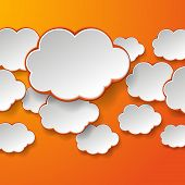 Abstract white paper speech bubbles on orange background. Cloud technology concept. Vector eps10 illustration