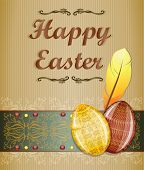 stock photo of pasqua  - Beige easter greeting card - JPG