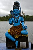 Marble Blue Wood Statue Of A Hinduism