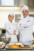 Frowning chef and head chef standing arms crossed in professional kitchen