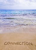 Connection Word Written On Sand, With Waves In Background