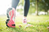 stock photo of soles  - Close up picture of pink sole from running shoe in a park on a sunny day - JPG