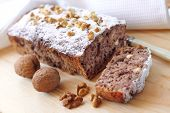 stock photo of walnut  - Banana cake with walnuts and dark chocolate - JPG