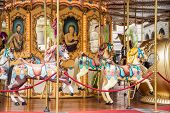 stock photo of merry-go-round  - A colorful traditional merry - JPG