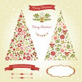 Christmas tree, graphic elements, holiday symbols