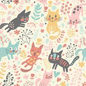 Cute seamless pattern with funny cats in hearts and flowers. Beautiful childish background. Seamless pattern can be used for wallpaper, pattern fills, web page background,surface textures