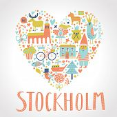 Stockholm concept card in vector. Heart made of swedish elements: church, gnome, bicycle, elk, dog, bird, boat, fish, cupcake and others. Scandinavian design element