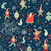Stylish Merry Christmas seamless pattern with Santa Claus, Elves, birds, candies and toys in vector. Seamless pattern can be used for wallpapers, pattern fills, web page backgrounds, surface textures