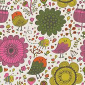 Cute seamless pattern made of summer flowers, birds and bees in vector. Seamless pattern can be used