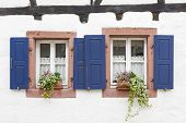 Traditional windows in a small village in Rhineland-Palatinate