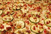 pic of alsatian  - Alsatian tarte flambee with zucchini on a plate - JPG