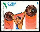 Vintage  Postage Stamp. Weight Lifting. 1983.