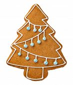 image of ginger bread  - Gingerbread tree isolated on white background - JPG