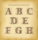 vintage drafted sketched letters set 1