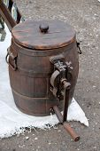 picture of milkmaid  - old tool to make butter in the farm