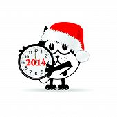 Funny Animal With New Year Clock Vector Illustration
