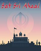 picture of granth  - an illustration of a sikh greeting sat sri akaal meaning god is the ultimate truth with gurdwara temple under a starry sunset sky - JPG