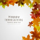 Happy Thanksgiving Day background with beautiful autumn maple leaves, can be use as flyer, banner or