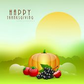 Happy Thanksgiving Day morning background with fruits and vegetables.