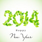 Happy New Year, go green background with 2014 text made by green leaves, can be use as flyer, banner