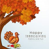 Happy Thanksgiving Day concept with red autumn leaves maple tree, turkey bird, fruits and vegetables.
